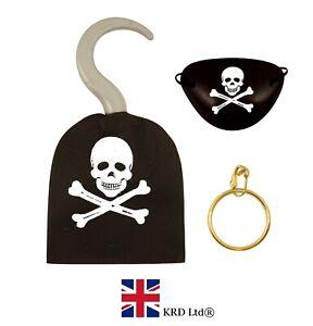 3Pcs PIRATE HOOK EYE PATCH EARRING SET Party Bag Favor Fancy Dress HB52774 UK