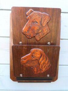 VINTAGE 1930s ART DECO WOODEN DOG DESIGN WALL MOUNTED LETTER RACK HOLDER