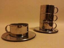 4 stainless steel italian espresso cups and saucers Italwaber mid century modern