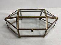 Vintage Metal Framed All Glass Vanity / Jewelrey Box Footed