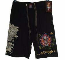 New Men's Ed Hardy Casual Shorts Beach Lounge Sleep Pyjama Flaming Skull RRP$89