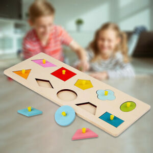Wooden Sensory Toys Colorful Geometric Pegged Puzzle for Kids Early Eductaion
