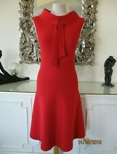 MARC CAIN Red Knitted Fit & Flared Skirt Dress Chiffon Bow  N1 8 BNWT €349.00