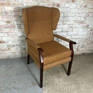 Vintage Brown Fireside Wingback Wooden Frame Armchair