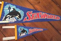 2 Sea World souvenir felt pennants 1978 Shamu amusement park