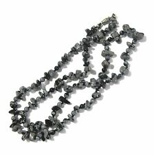 Polished chip snowflake obsidian stone bead necklace mjc
