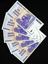 5 x 10 Billion Zimbabwe Dollars Banknotes AA 2008 Consecutive # Uncirculated UNC