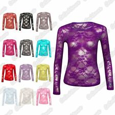 New Ladies Full Floral Lace Detail Long Sleeve Mesh Insert Vest Tee T-Shirt Top