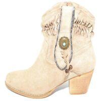 Texano tronchetti donna estivo camperos beige stivaletti con tacco in legno como