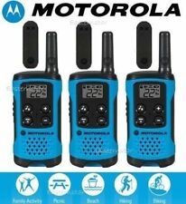Motorola Talkabout T100TP Walkie Talkie 3 Pack Set 16 Mile Two Way Radios Blue