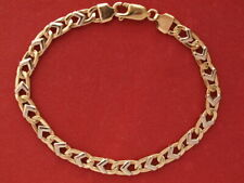 """9ct yellow & white gold fancy link bracelet lobster clasp 7.75"""" long 10.10 grams"""