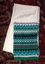 NWT TALBOTS winter SCARF cotton knit IVORY green BORDER new tags GIFT