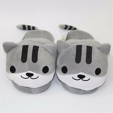 Neko Atsume ねこあつめKitty Collector Gray Plush Indoor Slipper Plush Soft Home Shoes