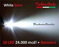 10 LED 5mm Bianco 24.000mcd  + Resistenze - LED WHITE 5 mm Super Bright