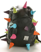 Mad Pax Black Faux Leather Backpack Multicolor Rainbow Spikes GUC