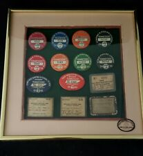 Framed 1933-1941 Tennessee Resident State Wide Hunting & Fishing License Pin Lot
