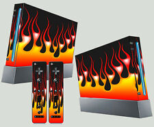 Nintendo Wii AUTOCOLLANT Fire HOT ROD STYLE flammes PYRO Skin & 2 Pad Stickers