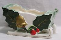 Vtg Christmas Shenandoah Prod. Holiday Sleigh Planter Holly Bells 1960s