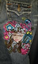 True Religion Joey Jeans Embroidered Twisted Flare womans size 29