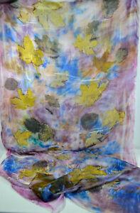 Seidenstola, Schal, handgefärbt, Naturmuster, 90 x175 cm, 100% Pongee 05, Unikat