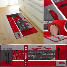 Küchenläufer Teppichläufer Rot Chili Waschbar Läufer Küchenteppich Küche Modern