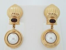Vintage Antique 14k Yellow Gold Dangling Mobe Pearl Amethyst Earrings Omega clip