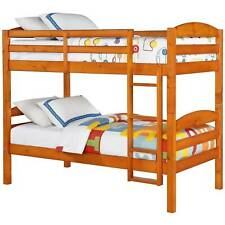 Kids Teen Bunk Bed Dorm Beds Ladder Frame Sturdy Furniture Twin Wooden Bedroom