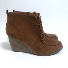 Nautica 9 Martingale Bootie Brown Suede Wedge Heel Lace Up Round Toe Women's