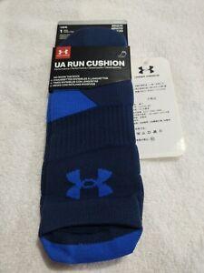 UNDER ARMOUR  UA Run Cushion Navy / Blue No Show Tab Socks Mens L Fits 9-12.5