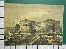 c1830 ANTIQUE PRINT ~ STAFFA ROCK OUT AT SEA GIANTS CAUSEWAY IRELAND SHIPS