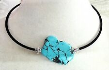 Woman Necklace baroque Natural Turquoise Slice Stone Choker Velvet rope