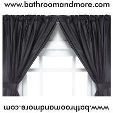 Vinyl Bathroom Window Curtain. 2 Panels with Tie Backs: 5-Guage Black