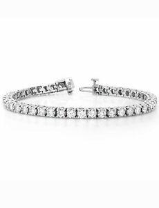 "6.75Ct Diamond Tennis Bracelet 8"" One Row Round Diamonds 14K White Gold Finish"
