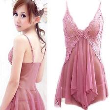 Women's Lingerie Lace Dress Underwear Babydoll Sleepwear+G-string Nightwear Sets
