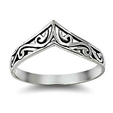 925 Sterling Silver Ring size 3 Heart Chevron Midi Knuckle Fashion Ladies New p8