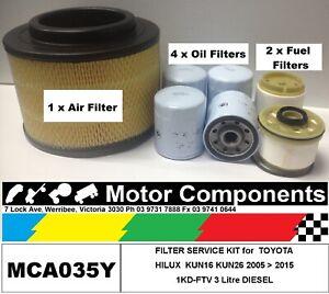 FILTER KIT Oil Air Fuel for TOYOTA HILUX KUN16 KUN26 1KD-FTV 3 Litre  05 > 2015