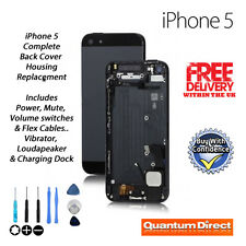 NEW Back Cover Housing Inc ✓Power✓Mute✓Volume Switch✓Vibrator For iPhone 5 BLACK