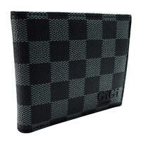 Mens Black Check Wallet Soft Bifold ID Credit Card Holder Gift  feux leather