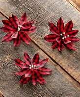 Set of 3 Red & Black Buffalo Plaid Poinsettia Christmas Tree Clip Ornaments