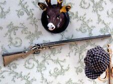 Antico DOPPIO FUCILE, DOLLS HOUSE miniatura pistola ornamentali 1.12 TH scala