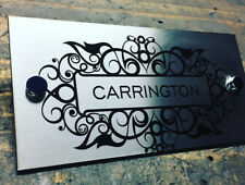 Mailbox House Sign Laser Cut and Etched Stainless Steel Size: 300mm x 120mm