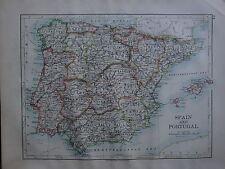 1900 VICTORIAN MAP ~ SPAIN & PORTUGAL BALEARIC MAJORCA MURCIA ANDALUCIA ARAGON