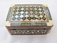 "Egyptian Inlaid Wood Mother of Pearl Jewelry Box 3.25"" #413"