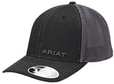 Ariat Western Mens Hat Baseball Cap Mesh Back Flex Fit Black Logo 1597501
