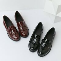 Women Slip On Loafers Tassel Oxfords College Casual Patent Leather Shoes Plus SZ