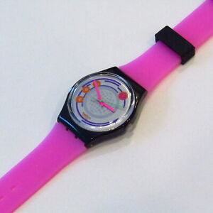 "Vintage SWATCH Watch ""Global Right"" 1992 STRAP SWAP NEON Hot Pink Purple Black"