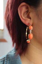 earrings Creole Ring Art Deco Coral Orange Oval Class Retro M1