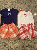 Girl's size 2T Janie & Jack Lot - 2 Pairs Plaid Shorts & 2 Tops