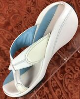 Cole Haan Air G Series Blue White Leather Slide Heel Sandals Shoes Women's 7.5 B