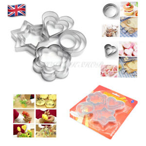 Cookie Cutter Stamp Stainless Steel Star, Circle,Flower, Heart Shape X 3 Sizes